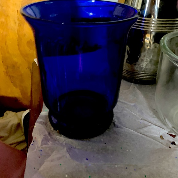 PartyliteLarge Cobalt Blue Candle Holder